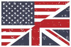 Us and Uk flags union. English. Stock Photo