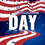 US-Unabhängigkeitstag Abstrakter amerikanischer Hintergrund mit wellenartig bewegender gestreifter Flagge und sternenklarem Muste Lizenzfreies Stockbild