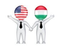 US-Ungrare samarbetsbegrepp. Fotografering för Bildbyråer