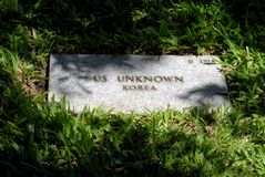 US Unknown Grave Marker. A grave marker for an unknown US soldier found in Korea Stock Photography