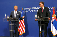 US Vice President Joseph 'Joe' Biden and Serbian PM Aleksandar Vucic. Belgrade, Serbia. 16th August, 2016. US Vice President Joseph 'Joe' Biden and Serbian PM royalty free stock photos
