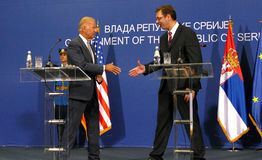 US Vice President Joseph 'Joe' Biden and Serbian PM Aleksandar Vucic. Belgrade, Serbia. 16th August, 2016. US Vice President Joseph 'Joe' Biden and Serbian PM stock image