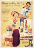 US Vintage Poster card. Printed during World War Ⅱ. - Budweiser - There is nothing like it .... absolutely nothing Royalty Free Stock Photography