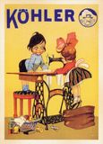 US Vintage Poster card. Printed during World War Ⅱ. - Showing up KOHLER - sewing machine Royalty Free Stock Photography