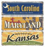 US.Vintage tin sign collection with America state. All States. South Carolina. Maryland. Kansas. stock illustration