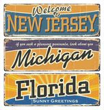 US. Vintage tin sign with US. T-shirt. New Jersey. Michigan. Florida. Retro souvenirs. stock illustration