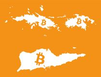US Virgin Islands map with bitcoin crypto currency symbol illust stock photos