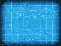 US Virgin Islands map blue print artwork illustration silhouette. Art royalty free illustration