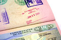 US Visa. A passport with the American visa Royalty Free Stock Image