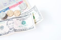 Us visa and money on white background with copy space, Travel America Royalty Free Stock Photography