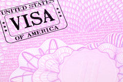 US visa stamp immigration document passport page, copy space Royalty Free Stock Photography