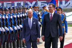 US Vizepräsident Joseph 'Joe' Biden fängt offiziellen Besuch nach Belgrad an Stockbild
