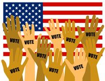 US-Wahl-Wähler mit den Händen angehoben Stockbilder