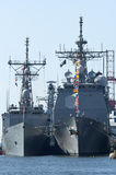 US Warships. USS Robert G. Bradley (FFG-49) and USS Gettysburg (CG 64 royalty free stock photography
