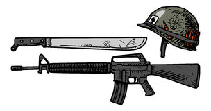 US weapons during the Vietnam War. Vector drawing of US weapons during the Vietnam War Stock Photo