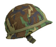 US Woodland Camouflage Helmet. A US military helmet with an M81 Woodland pattern camouflage cover. Woodland is no longer used by the US Army, or the USMC, but Royalty Free Stock Photography