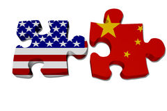 US working with China. Puzzle pieces with the US flag and Chinese flag over white, US working with China royalty free illustration