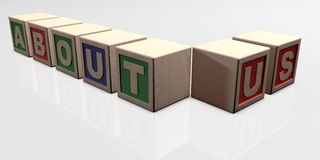 ABOUT US written with wooden blocks. Wooden blocks arranged in the word ABOUT US Royalty Free Stock Images
