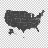 USA översikt med förbundsstater VektorillustrationFörenta staterna nolla Arkivbilder