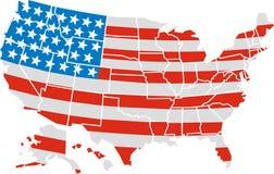 USA översikt och flagga Royaltyfria Bilder