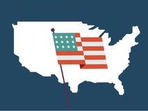 USA översikt och flagga - Arkivbilder