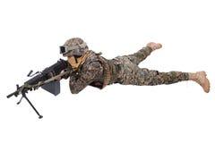 USA żołnierze piechoty morskiej z M249 maszynowym pistoletem Zdjęcia Royalty Free