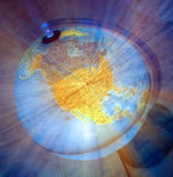 USA. Globus zoom blur pointing at United States of America Stock Images