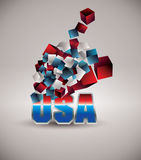 USA. 3d flying cubes with colors of American flag vector illustration