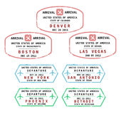 USA. Travel stamps from USA. Grungy stamps (not real). USA destinations: Denver, Boston, Las Vegas, New York, San Antonio, Phoenix and Detroit Stock Photos