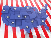 USA 3D. USA map 3D render with abstract flag and stars vector illustration