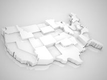 USA 3D. USA map whit stats ,3D abstract render vector illustration
