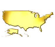 USA 3d Golden Map Stock Photos