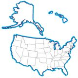 USA 50 States. This is an entire 50 state map of the united states including Alaska and Hawaii.  It has clear defined outlines and no state abriviations Stock Images