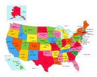 USA 50 States with State Names Stock Photo