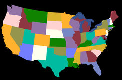 USA. Multicolored USA Map stock photo