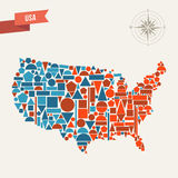 USA abstract map Royalty Free Stock Image