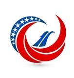USA abstract swirly flag. Design illustration Stock Photography