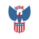 USA-Adler Schild Greifvögel in den olors der amerikanischer Flagge falke Stockfotos