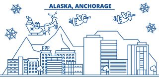 USA, Alaska, Anchorage winter city skyline. Merry Christmas and Happy New Year decorated banner. Winter greeting card. USA, Alaska, Anchorage  winter city Royalty Free Stock Images