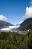 USA Alaska - Mendenhall Glacier and Lake. USA Alaska, Tongass National Forest, Mendenhall Glacier Recreation Area, Nugget Falls, Travel destination Stock Photos