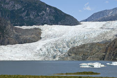 USA Alaska - Mendenhall Glacier and Lake. USA Alaska, Tongass National Forest, Mendenhall Glacier Recreation Area, Travel destination Royalty Free Stock Photo
