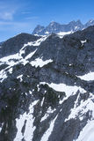 USA - Alaska - Mountain tops - Close up. USA - Alaska - Aerial view of rugged snow covered mountains near Juneau Stock Photos