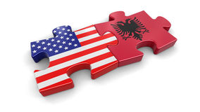USA and Albania puzzle from flags Royalty Free Stock Photos
