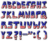 Usa alphabet. Set of American flag font Royalty Free Stock Images