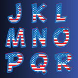 USA alphabet on a blue background Stock Photography