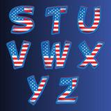 USA alphabet on a blue background Royalty Free Stock Photography
