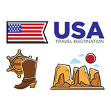 USA America culture and Amercian travel toursit attraction landmarks vector icons set. USA travel symbols or America culture and famous tourist landmark Royalty Free Stock Photo