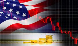 USA America flag candlestick graph background Stock market exchange analysis / indicator of changes graph chart business finance. USA America flag candlestick stock images