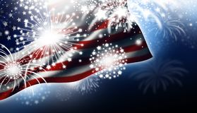 USA or America flag with fireworks design at night. Independence day illustration Stock Images