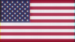 USA America flag on jumpy glitch interference old computer lcd led tube tv screen display seamless loop animation black. USA America flag on jumpy glitch old stock video